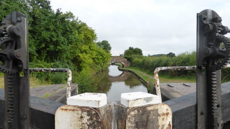 The view looking back down the locks